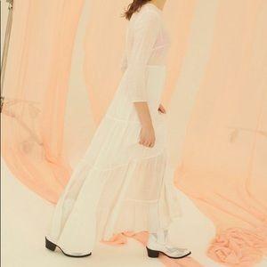Urban Outfitters Josie White Tiered Maxi Dress XS